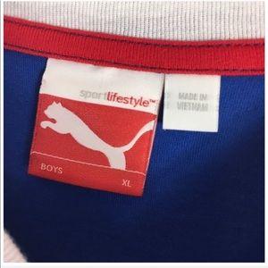 Puma Shirts & Tops - Puma Long Sleeve Blue White T Shirt Boy's XL NEW